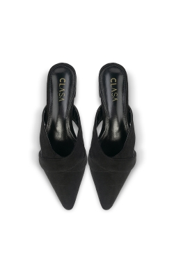 Aria Low Heels Mules - Black
