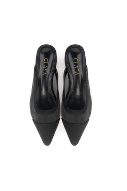 Bella Low Heels Mules - Black