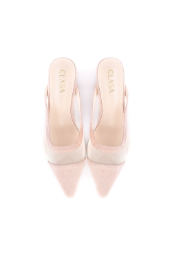 Bella Low Heels Mules - Nude