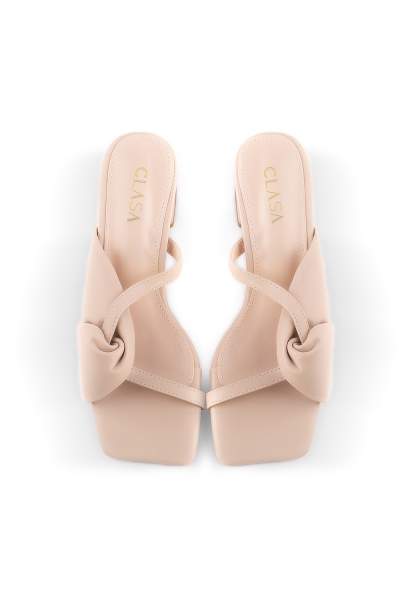 Milly Low Heels Mules - Nude Cream