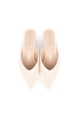 Sandy Low Heels Mules - Cream