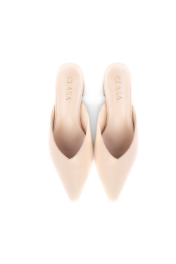 Sandy Low Heels Mules - Nude